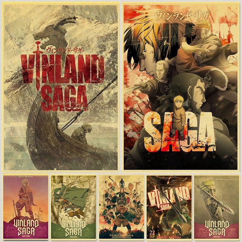 vinland saga anime manga retro poster kraft paper prints home room decor vintage painting wall stickers