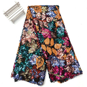 Colorful Plant Pattern Sequin Fabric by the yard, Sequin Mesh, Wide 150cm