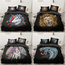 3D Comic Unicorn Duvet Cover Pillowcases 2pcs Single 3pcs Twin Full Queen King Size Bedding Set Home Textiles All Seasons Used