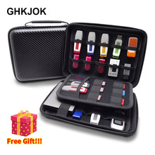 Grote Capaciteit Lederen Elektronische digitale Opbergtas voor Power Bank USB Flash Drive Game Geheugenkaart HDD Travel Organizer Case