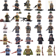 WW2 Military Army Soldier Figures Building Blocks Military Germany Army Soldier Figures Weapon guns Bricks Toys For Children ww2 japanese army type 98 soldier uniform sets jacket