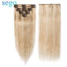 """SEGO """"-24"""" 45-75 г прямые 8 шт./компл. человеческие волосы для наращивания не Реми 613#18P613 блонд цвет Клип Ins бразильские волосы"""