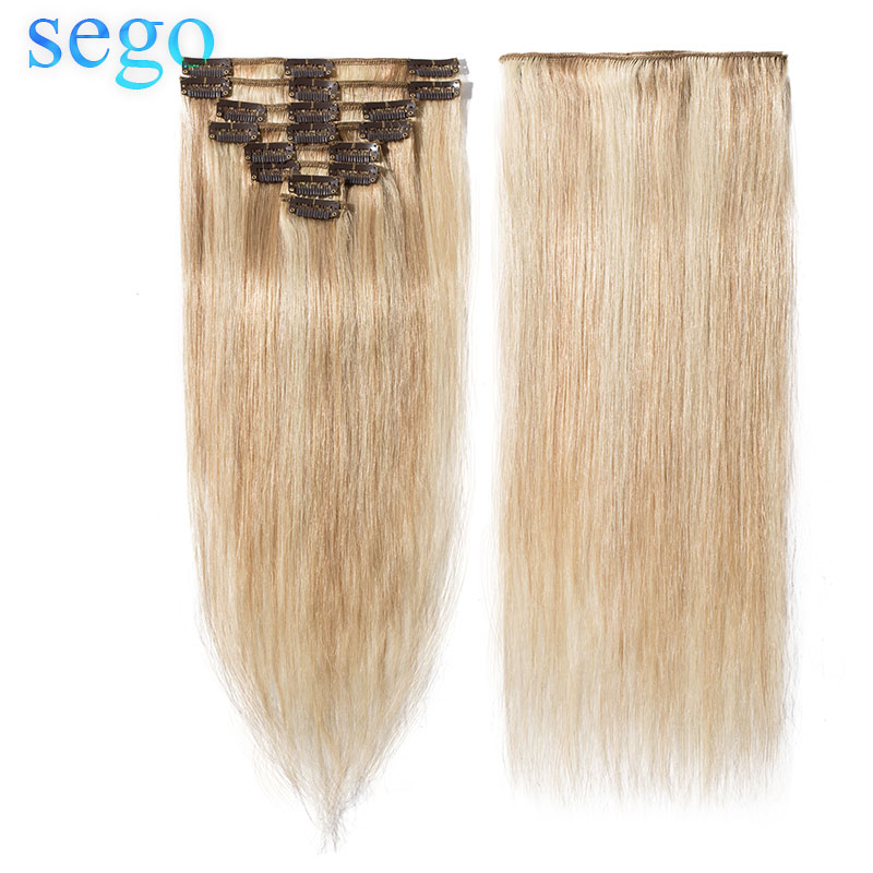 "SEGO 8""-24"" 45-75G Straight 8pc/set Clip In Human Hair Extensions Non-Remy 613# 18P613 Blonde Color  Clip Ins Brazilian Hair"