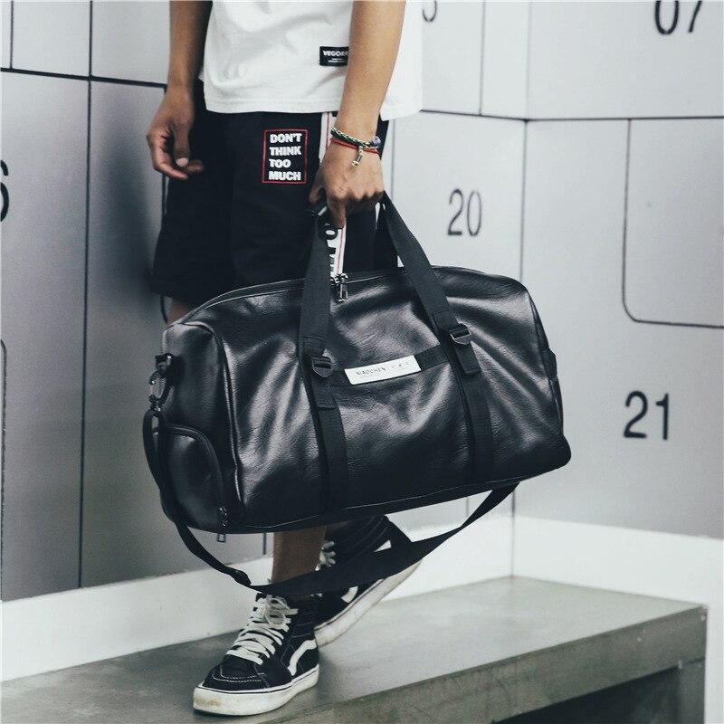 Gym Bag Leather Women Fitness Shoe Compartment Men Duffle Shoulder Bags Waterproof Travel Training Large Sport Handbag