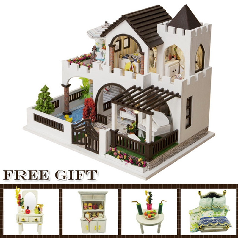 Doll House Furniture Miniature Dust Cover Wooden Dollhouse Puzzle Toys for Children Birthday CHRISTMAS Gifts casa K20