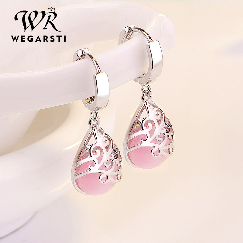 WEIGARSTI 925 Sterling Silver Moonlight Opal Tears Totem Earrings Gift Pendientes Oorbellen Boucle D'oreille Femmes Wholesale