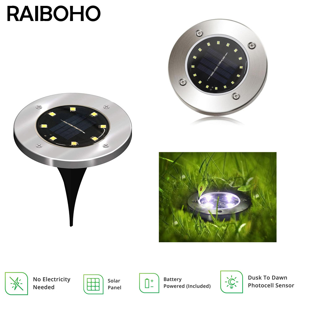 4/8//16 LED Solar Ground Light Waterproof Garden Pathway Solar Lamp For Home Yard Driveway Lawn Road White/Warm White