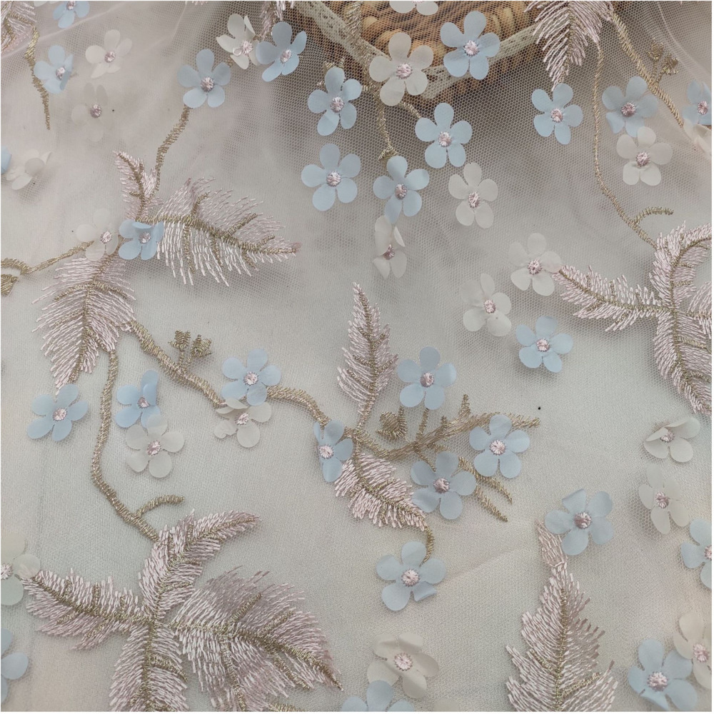Width 130cm Pink Blue Flower Leaves Hollow Floral Wedding Embroidery Quality Fabrics Embroidered Lace Diy Handmade Patchwork