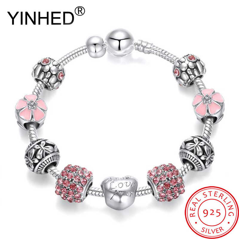YINHED Fashion Crystal Beads Charm Bracelets for Women 925 Sterling Silver Original DIY Jewelry Fit Pan Bangle Bracelet ZB037