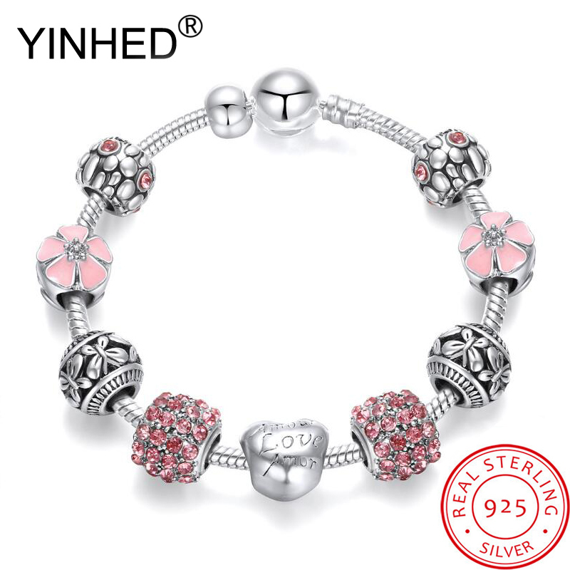 YINHED Fashion Crystal Beads Charm <font><b>Bracelets</b></font> for Women 925 <font><b>Sterling</b></font> <font><b>Silver</b></font> Original DIY Jewelry Fit <font><b>Pan</b></font> Bangle <font><b>Bracelet</b></font> ZB037 image