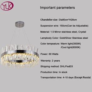 Image 4 - Youlaike 현대 LED 샹들리에 거실 럭셔리 크리스탈 샹들리에 조명 골드/크롬 세련 된 철강 디자인 교수형 램프