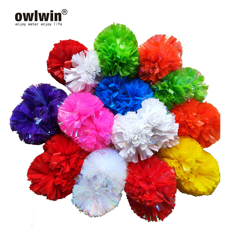 Pompoms Cheerleading Cheer Pom Pom Ball 6 Pcs Of Plastic Handle Metallic Streamer Cheer Dance Decorator Club Sport 3 Pairs