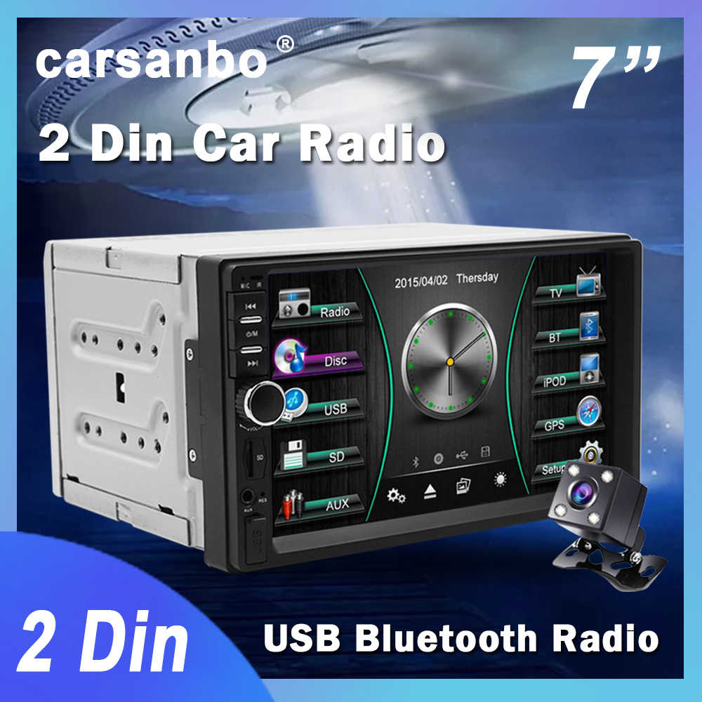 Carsanbo 2 Din 7 Inci Mobil Radio Touch Screen Stereo Multimedia Player MP5 Cermin Link Android/IOS Bluetooth FM SD USB AUX Input