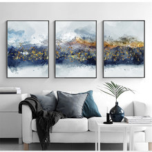 Abstract Gold Foil Mountain Canvas Painting Fahsion Posters Prints Big Wall Art Picture For Living Room Aisle Modern Home Decor(China)