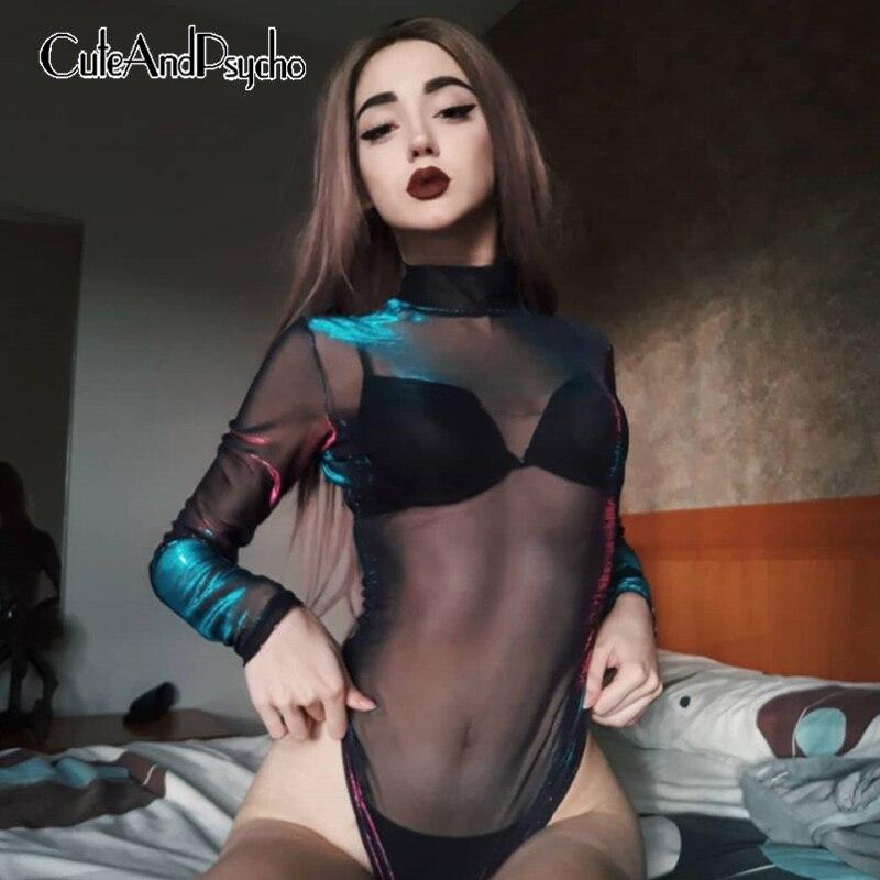 High Neck Mesh Sexy Bodies Ladies Black Long Sleeve Short Jumpsuit   Romper   Transparent Bodysuit Woman Party Club Cuteandpsycho