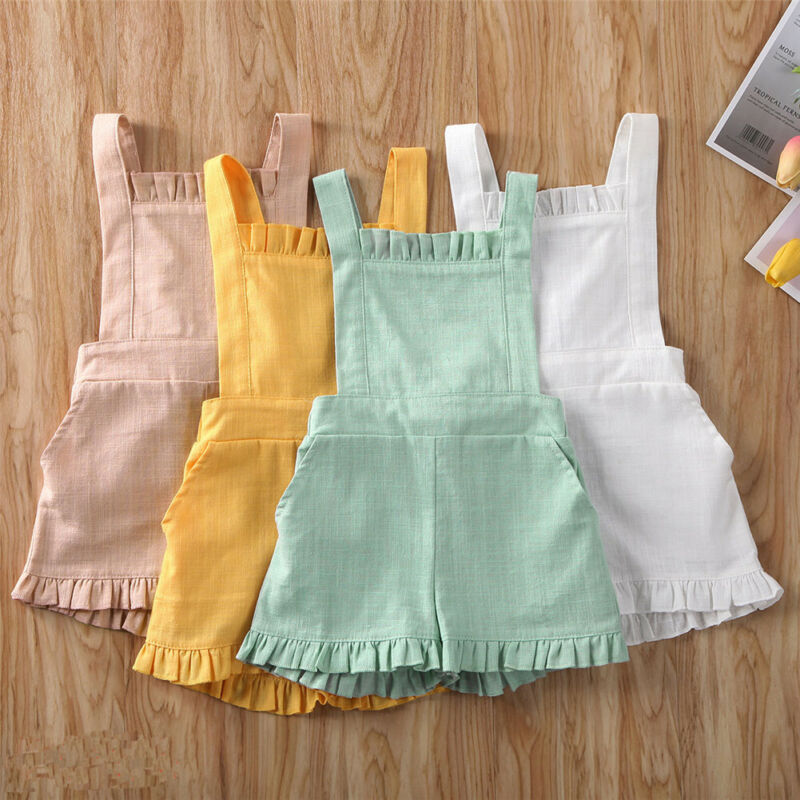 Baby Toddler Girls Kids Romper Summer Casual Sleeveless Backless One-pieces Jumpsuit  Rompers Age 0-4 Years