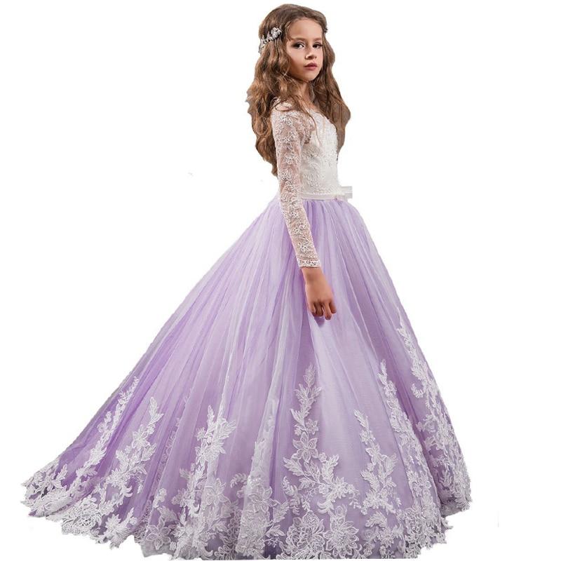 Manches longues violet fleur fille robes avec Train rouge vin ivoire enfants robe de bal petites filles robe de reconstitution historique première Communion robe
