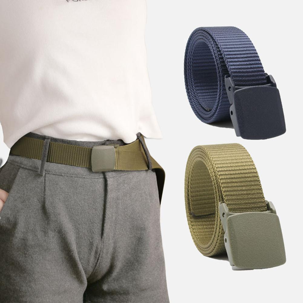113CM Fashion Men Adjustable Solid Color Buckle Pants Outdoor Waist Belt Waistband  Adjustable Comfortable Durable Waist Belts