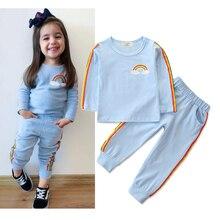 CYSINCOS/осенне-зимний комплект одежды для маленьких мальчиков и девочек, комплект одежды из 2 предметов Детский костюм детская одежда для малышей Костюм с рисунком радуги