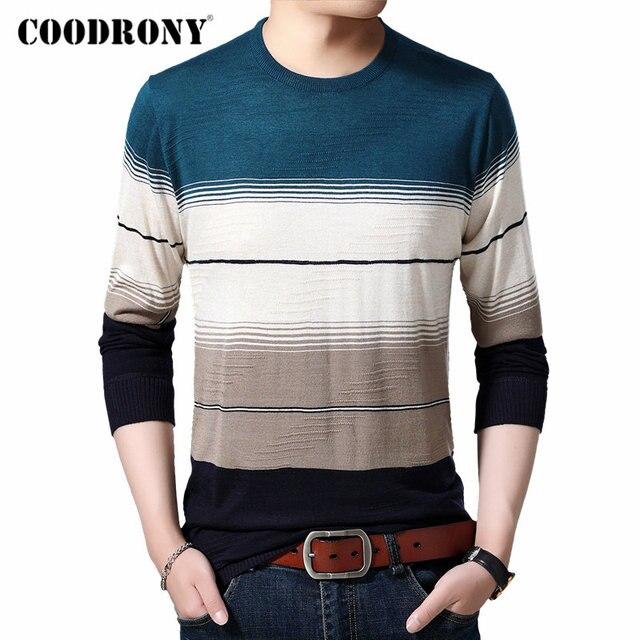 COODRONY ยี่ห้อเสื้อกันหนาวผู้ชาย Casual O Neck Pull Homme ผ้าฝ้ายเสื้อกันหนาวฤดูใบไม้ร่วงฤดูหนาวแฟชั่นลายจัมเปอร์เสื้อกันหนาว 91082