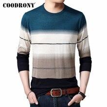 Coodrony 브랜드 스웨터 남성 캐주얼 o 넥 당겨 옴므 코튼 울 풀오버 남자 가을 겨울 패션 줄무늬 점퍼 스웨터 91082
