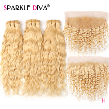 613 Watre Wave Bundles With Lace Frontal Peruvian Remy Human Hair Extension 613 Blonde Bundles With 13*4 Lace Frontal Closure image