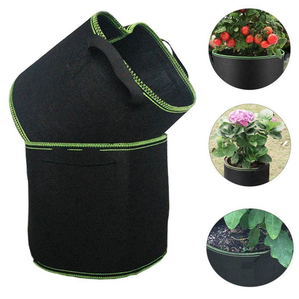 1-34 Gallon Big Plant Grow Bags Pot Round Flower Planting Bag Green Rim Plant Growth Pouch Vegetable Growing Pot