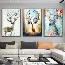 Modern Abstract Colorful Deer Art Posters and Prints Canvas Paintings Wall Art Pictures for Living Room Decor (No Frame)