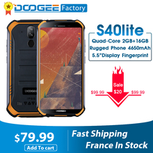 New DOOGEE S40 lite Rugged Android 9.0 Mobile Phone 5.5 inch Display 4650mAh MT6580 Quad Core 2GB RAM 16GB ROM 8.0MP IP68/IP69K