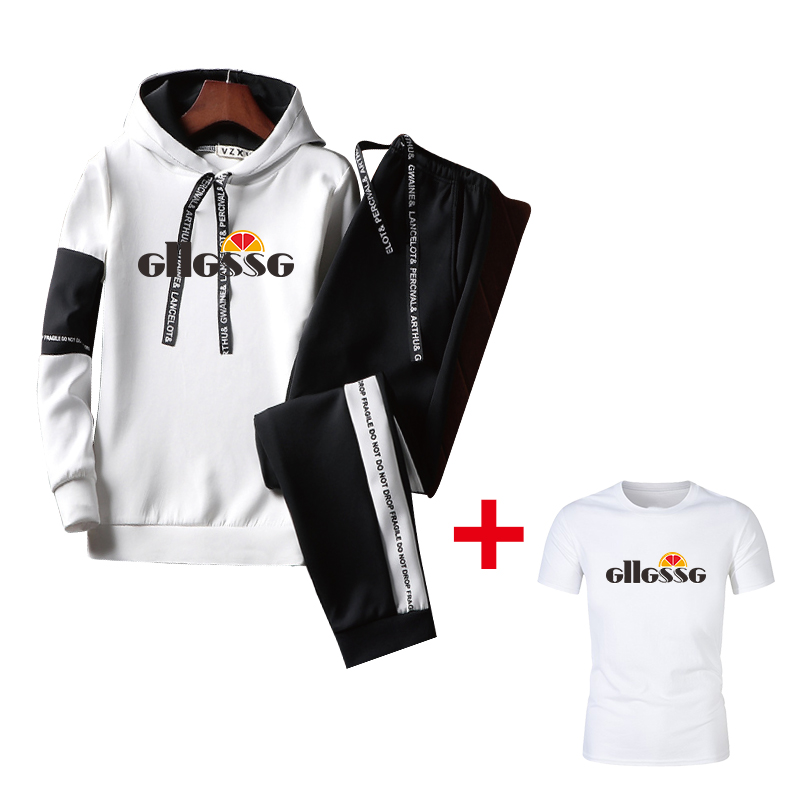 Patchwork Men's Sportswear Suit 2020 Spring And Autumn Hooded Thickened Men's Casual Sportswear Men's 3 T-shirts + Track Pants