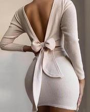 Мини платье вязаное на резинке с длинным рукавом модные элегантные
