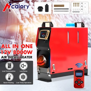HCalory All in One 1-8KW 12V Car Heater Tool Diesels Air Heater New LCD Monitor Parking Warmer For Car Truck Bus Boat new lcd switch single hole black car air heater 12v 2kw air diesels heater parking heater with muffler for rv boat trail truck