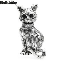 Винтажная броши кошки wuli & baby в виде черных глаз для женщин