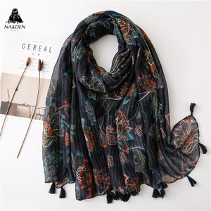 New women muslim hijabs fashion stripe flower print scarf with tassels hijab kaleidoscopic shawl soft turban hot sale fast ship