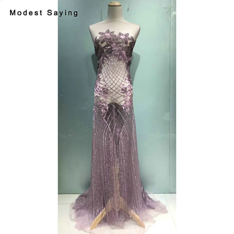 5 Yards Luxury Purple Sequined Lace Fabrics For Evening Dress 2019 New Square Embroidered Mesh Party Prom Tulle Lace Material
