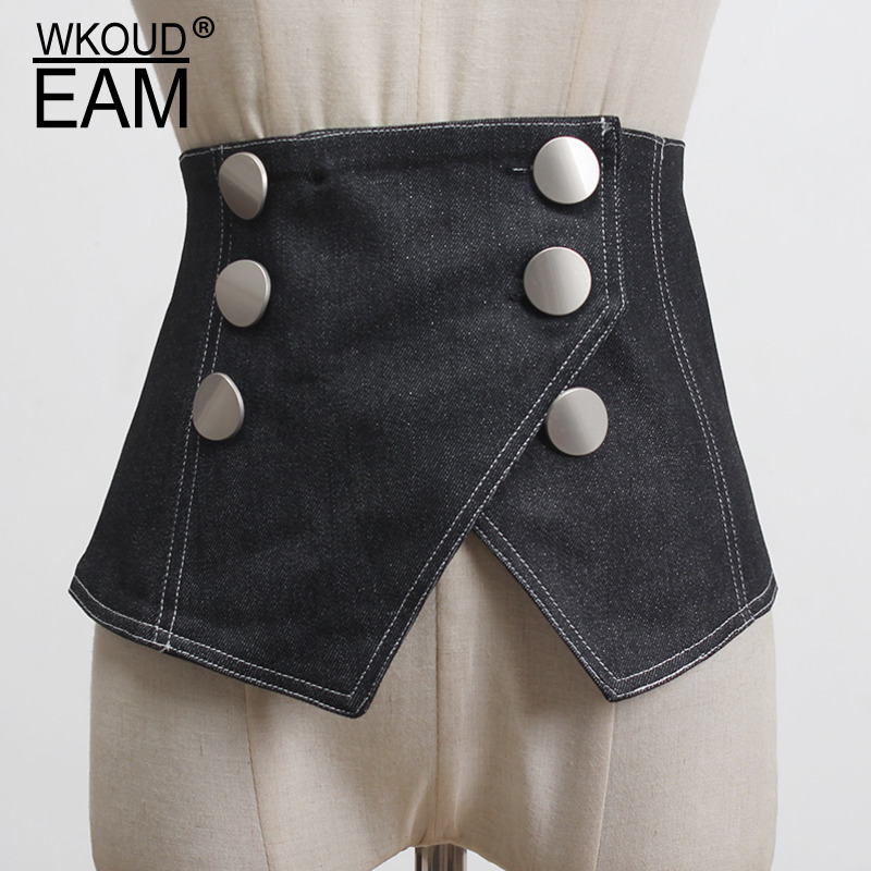WKOUD EAM 2020 New Double Breasted Buckle Denim Wide Corset Belt Women Fashion All-match Belt Female Trendy Waistband Tide PF598
