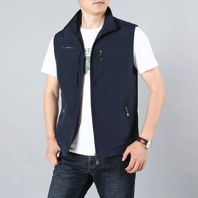 MAIDANGDI Men's Waistcoat  Jackets Vest 2021 Summer New Solid Color Stand Collar  Climbing Hiking Work Sleeveless With Pocket 3