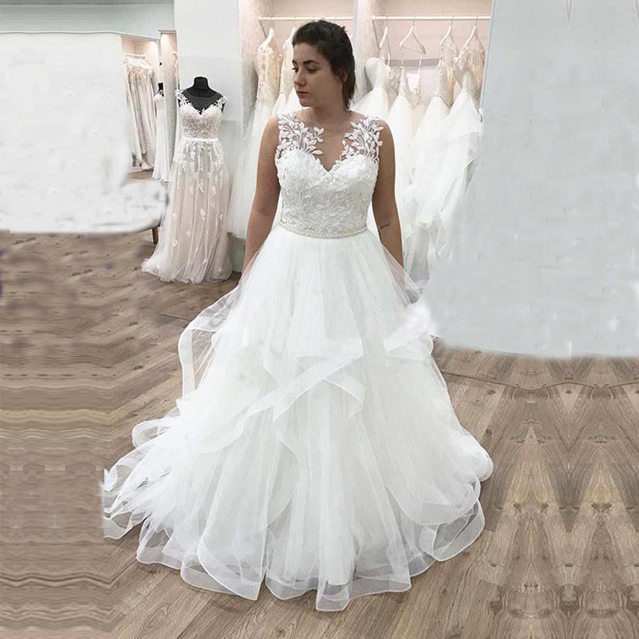 Volants à plusieurs niveaux Tulle jupe robes De Mariée motif De fleurs appliqué dentelle une ligne Robe De Mariée Robe De Mariée bohème Boho Robe