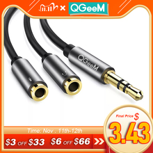 Qgeemヘッドホンスプリッターオーディオケーブル3.5ミリメートルオス2メスジャック3.5mmスプリッタアダプタauxケーブル用iphoneサムスンMP3したがってplaye