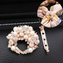 South Korea Crystal Brooch Pearl Corsage Women's Brooch Scarf Buckle Dual Purpose pi jian kou Clothes Knot Buckle T-shirt Buckle(China)
