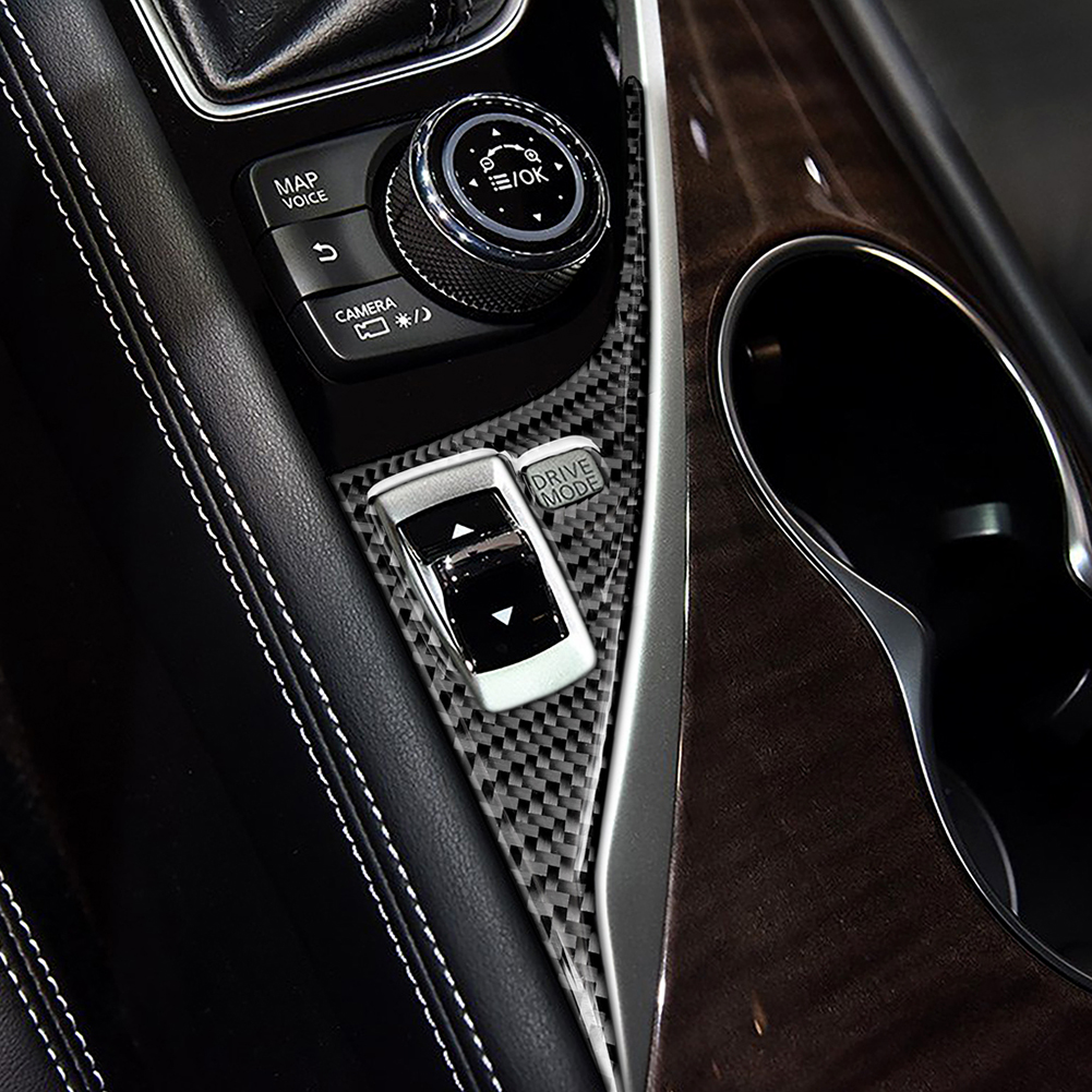 For Infiniti Q50 Q60 2014-2019 Carbon Fiber Sticker Car Control Gear Shift Drive Mode Panel Cover Trim Strip Interior Mouldings