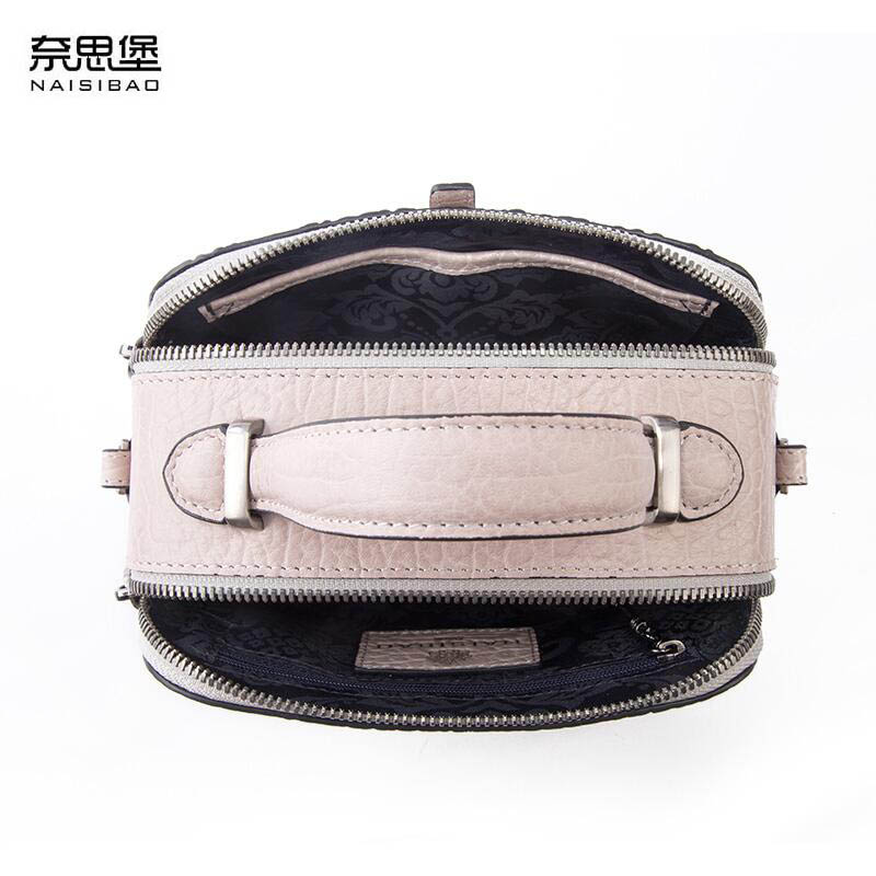 NAISIBAO 2019 New women genuine leather bag embossing fashion Luxury women handbags shoulder bag mini small cowhide bag in Top Handle Bags from Luggage Bags