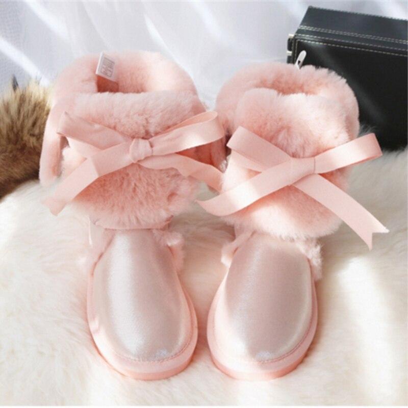 GY & YY genou haute en cuir de mouton véritable bottes de neige australie G bottes dentelle laine botte fourrure de mouton femmes hiver chaud chaussures plates - 6
