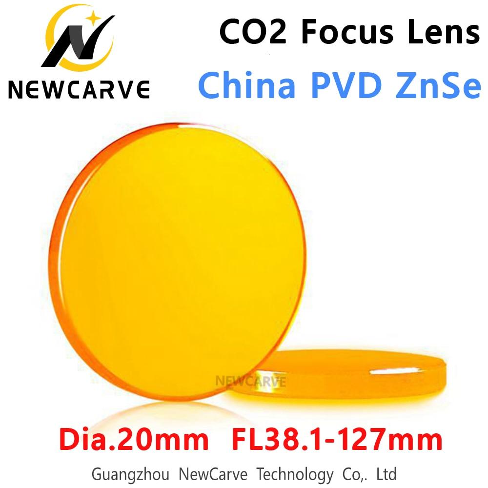 CO2 Focus Lens China ZnSe Laser Lenses Diameter 20MM  FL 38.1 50.8 76.2 101.6 127mm For Laser Cutting Machine NEWCARVE