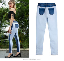 Women's Jeans European Style New Feet Pants Elastic Autumn Models Slim Stitching Pencil Pants Double Color Women's Trousers new style jeans slim stretch jeans female trousers autumn new cross stitch fight off pants feet