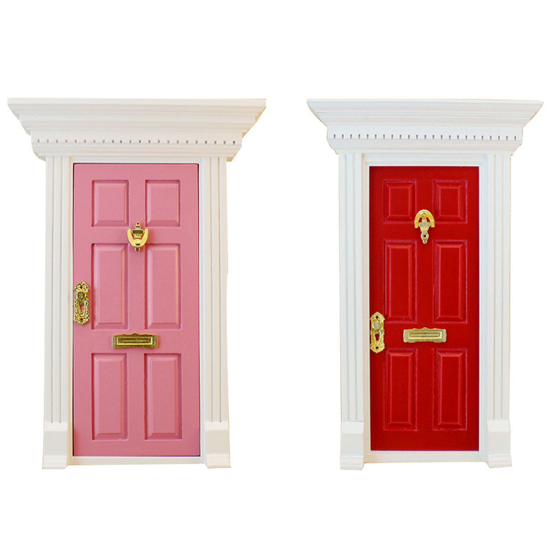 Cosplay 1:12 Scale Dolls House Miniature Wooden Steepletop Panel Door With Hardware For Children DIY Furniture Toy For Girl Gift