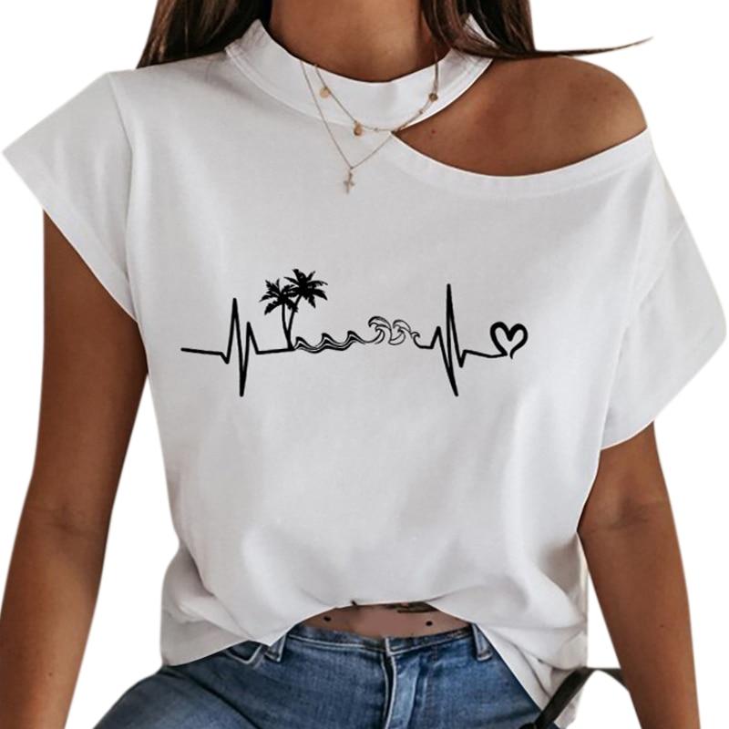 VICABO Female T-shirt Summer Fashion Sexy Off Shoulder White T Shirt Women Clothing Ladies Top Casual Women T Shirt Tops #w