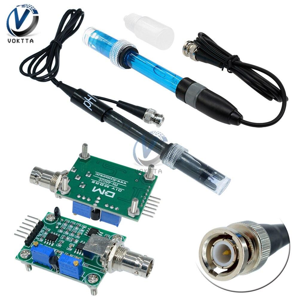 Liquid PH 0-14 Value Detection Detect Regulator Sensor Module Monitoring Control Meter Tester With BNC PH Electrode Probe