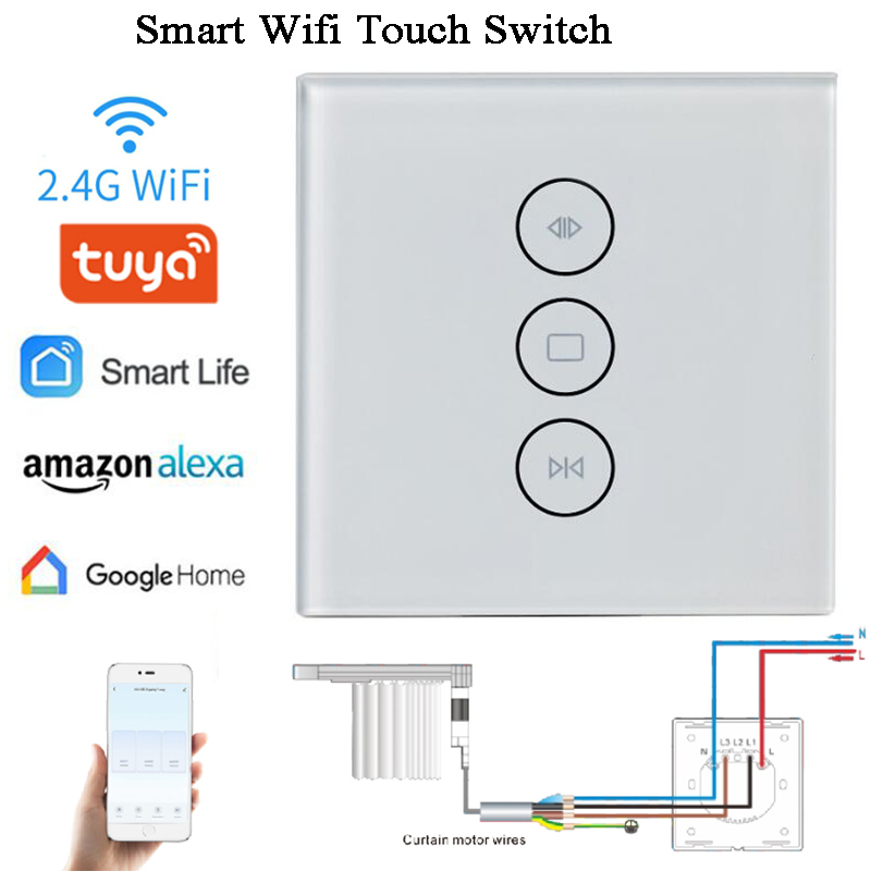 AC100-240V Smart Wifi Switch Wall Switch Tuya Amazon Alexa Google Home Chain Actuator Opener Curtain Switch Window Operator