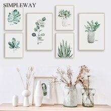 Aquarell Anlage Green Leaf Leinwand Poster Nordic Wandbilder Botanischer Druck Malerei Skandinavischen Dekoration Bild Home Decor